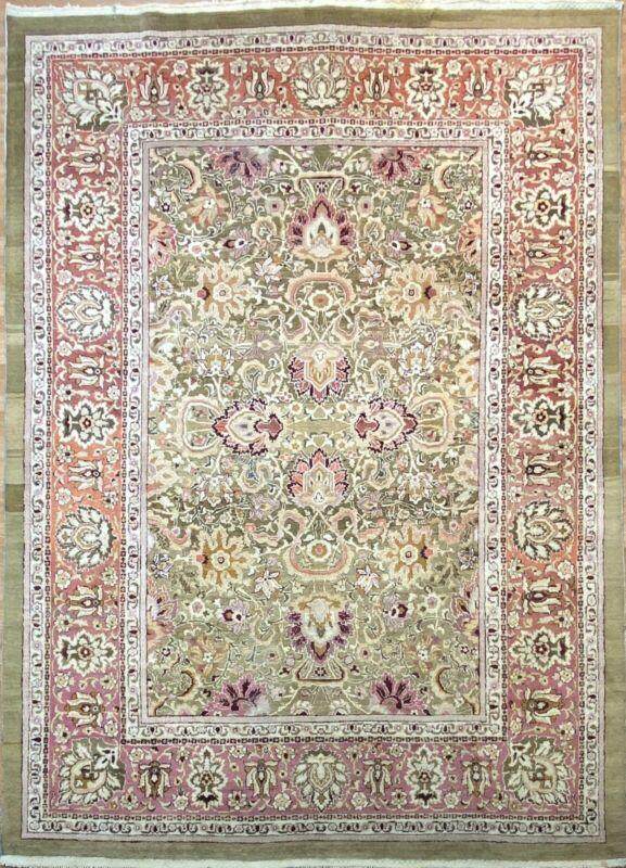 Antique Amritsar - 1880s Original Agra Carpet - Oriental Floral Rug- 9 X 12 Ft.
