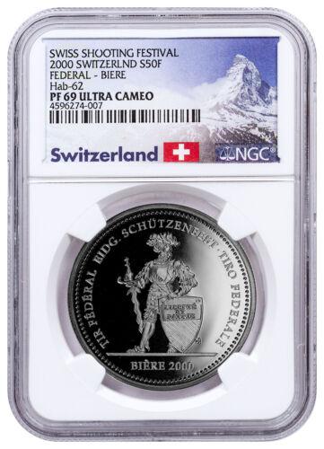 2000 Switzerland Shooting Festival Thaler Biere Silver 50F NGC PF69 UC SKU48953
