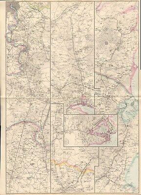 1863  LARGE ANTIQUE MAP - DISPATCH ATLAS- SOUTH WESTERN RAILWAY, LONDON,WEYMOUTH
