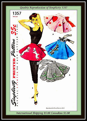 Vtg 50s POODLE SKIRT APRON Simplicity 1357 ONE YARD FABRIC Sewing Pattern Uncut