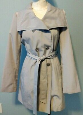 Anne Klein Size Small Trench Coat Light Gray Open Collar Water Resistant Dressy