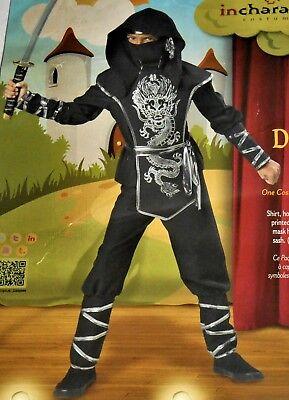 NEW-Kids Silver & Black Ninja Power Fancy Dress Costume Child Dragon Ninja Sword](Black Ninja Costumes)