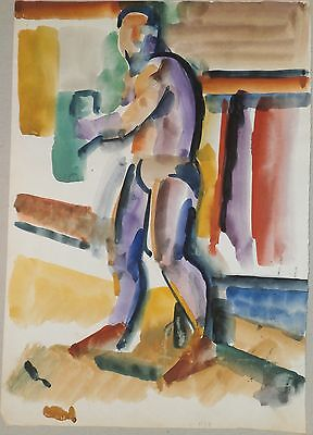 Male Model/ Boxer Fauvist Painting-1959-Israel Louis Winarsky-Listed N.J.