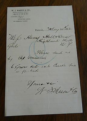 1882 JW Mason & Co. Guns Fishing Tackle Sporting Goods Letterhead Correspondence