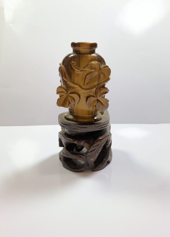 Chinese Vintage Tiger Eye Snuff Bottle
