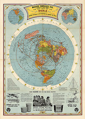 1945 Flat Earth Air Age Map Of The World Azimuthal Equidistant Polar Projection