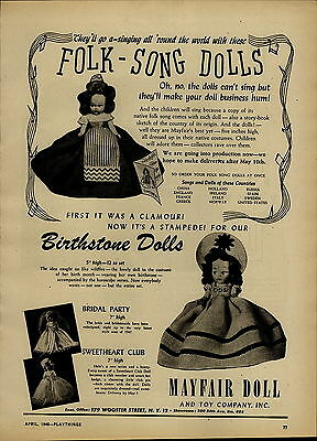 1946 PAPER AD Mayfair Doll Toy Co Birthstone Folk Song Bridal Party Sweetheart