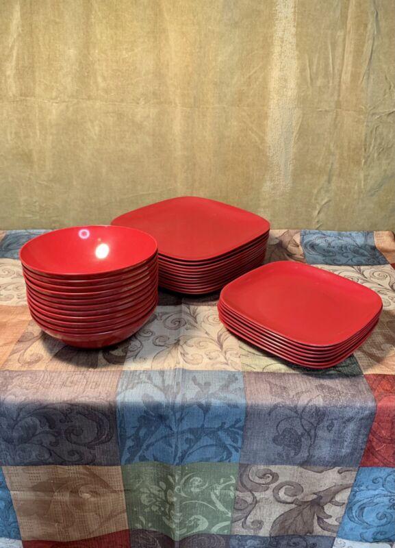 Hard Plastic Dish Set - Red