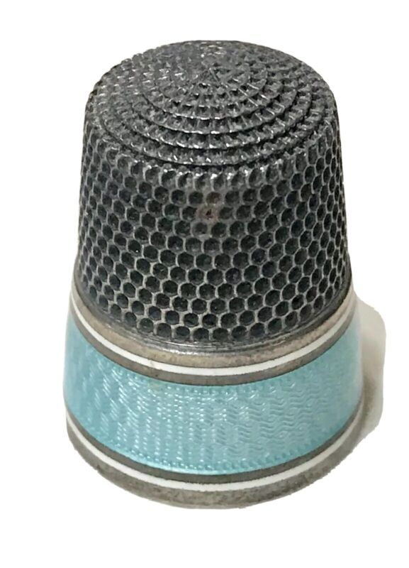 Antique Vintage Hallmarked Sterling Silver Enamel  Guilloche Blue Thimble Old