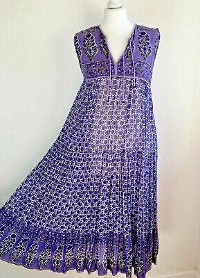 Original Vintage Indian Block Printed Cotton Fine Gauze Floaty Hippy Dress - MED