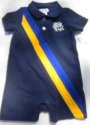 NWT Ralph Lauren Polo Boys One Piece Rugby Style Romper sz 6 mos navy #1