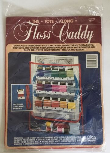 Vintage 80s The Tote Along Vinyl Floss Caddy Organizer W/ 23 Plastic Bobbins
