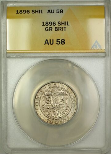 1896 Great Britain 1S Shilling Silver Coin ANACS AU-58