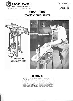 1972 Rockwell 37-290 4 Inch Deluxe Jointer Instruction Maint Parts Manual 9