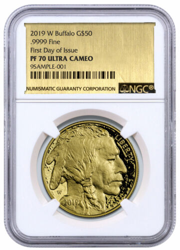2019 W 1 oz American Gold Buffalo $50 NGC PF70 UC FDI Gold Foil Label SKU56082