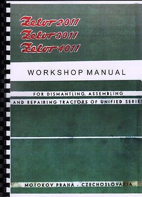 ZETOR 2011, 3011, 4011 Unified Series Tractors Workshop Repair Manual Book 1964 na sprzedaż  Wysyłka do Poland
