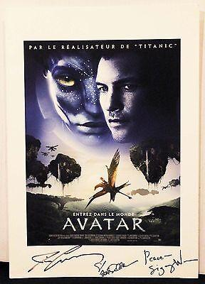 """Avatar Promo 12"""" x 18"""" Autographs James Cameron Sigourney Weaver Zoe Saldana"""