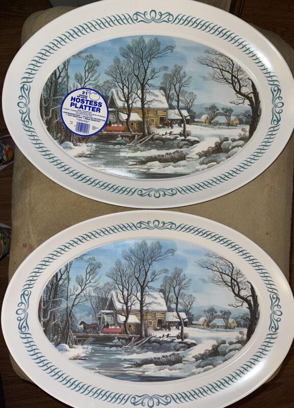 TWO Brookpark Melamine Turkey Platters Christmas/Winter  #1521 Beautiful 401
