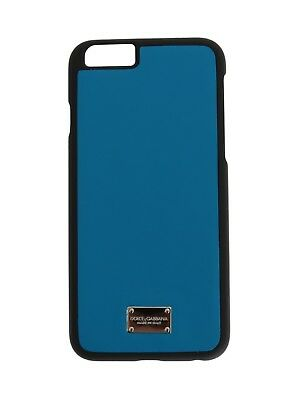 NEW $150 DOLCE & GABBANA Phone Case Skin Blue Silver Logo Leather iPhone6