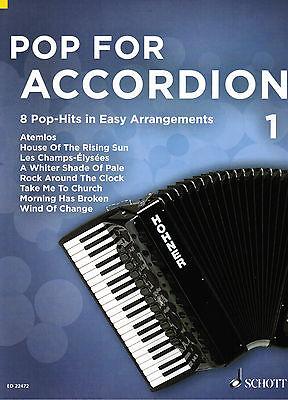Akkordeon Noten : Pop for Accordion 1 - 8 Pop Hits - leichte Mittelstufe