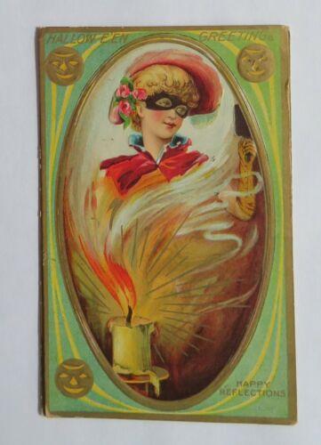 VTG Halloween Postcard Masquerade Lady With Flaming Candle & Jack-O-Lanterns