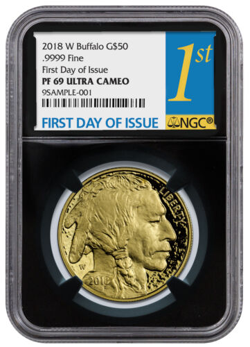 2018-W 1 oz Gold Buffalo Proof $50 Coin NGC PF69 UC FDI Black Core SKU53731