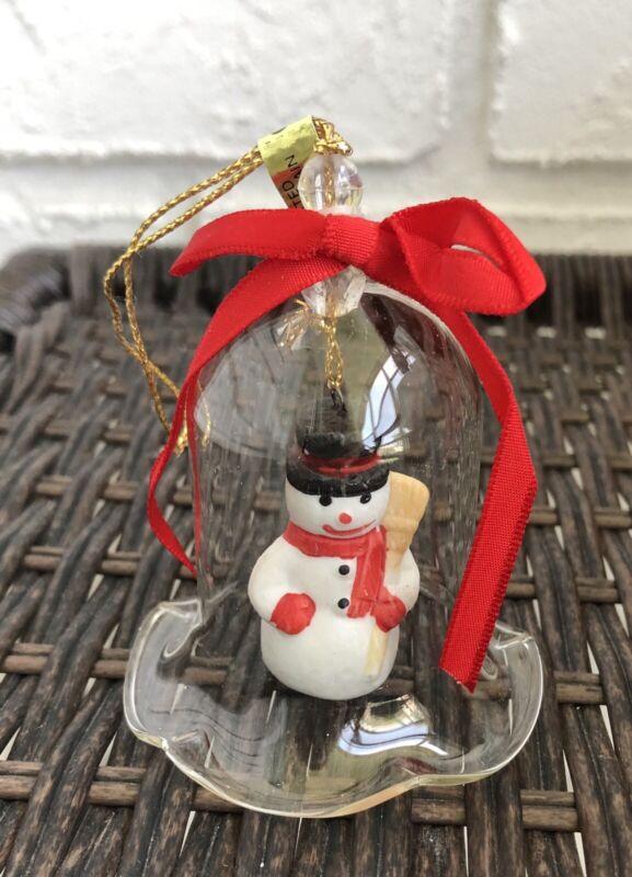 "Jasco Lil Chimers Crystal Bell Tree Ornaments Snowman 3 1/2"" Vintage"