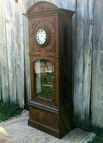 LARGE  CARVED ANTIQUE  OAK LOBBY or School CLOCK Case, CIRCA 1890-1910