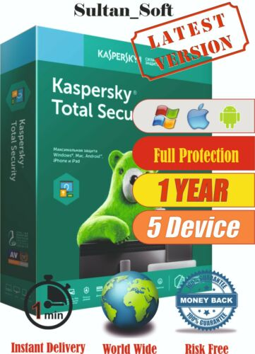 Kaspersky Total Security - 5 Devices / 1Year - 2021 - Global Key - Instant Email