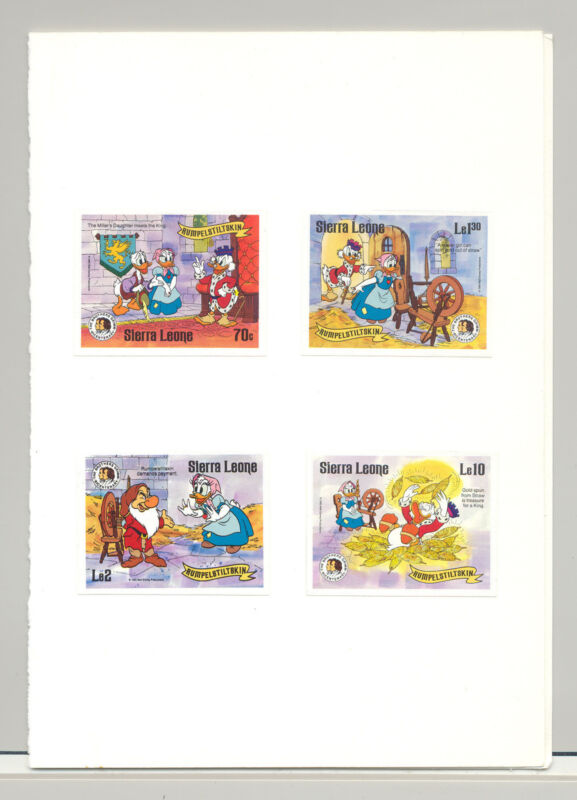 Sierra Leone #729-730, 732, 736, Disney, Grimm Fairytales, 4v. imperf proofs