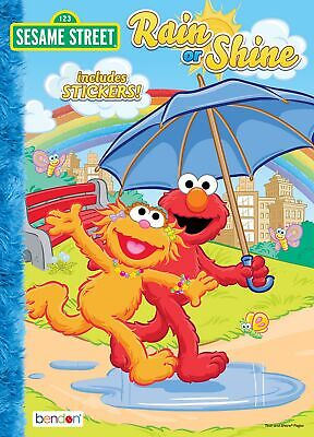 NEW Sesame Street 32-Page Rain or Shine Coloring Book + Stickers Great Gift Idea