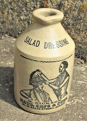 Salad Crock (Vintage Made in England Salad Dressing stoneware crock jar H. Dickson ad )