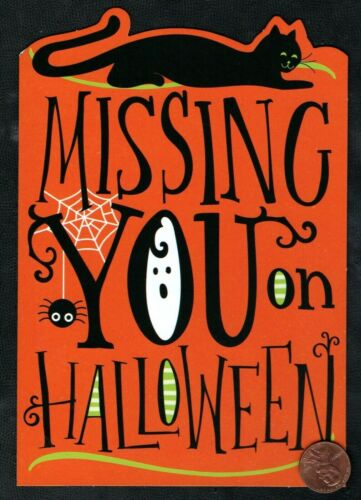 HALLOWEEN Black Cat Kitten Missing You Spider Web Halloween Greeting Card - NEW