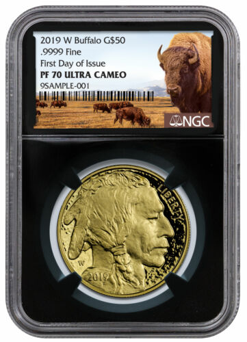 2019 W 1 oz American Gold Buffalo $50 NGC PF70 UC FDI Black Core SKU56080