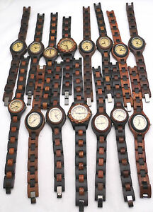 Wholesale-Lot-of-15-Wooden-Watches-ALL-WORKING-Beautifully-Crafted-Analog-2-Tone