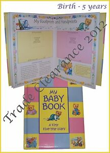 New-Baby-Record-Book-Baby-Keepsake-From-Birth-to-Five-Years-Baby-Shower-Gift