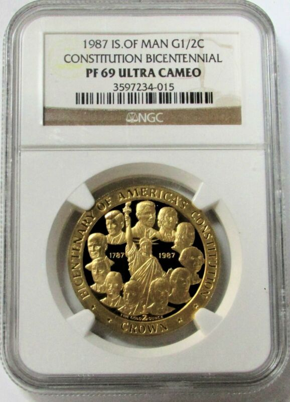 1987 GOLD ISLE OF MAN 1/2 OZ CROWN U.S. CONSTITUTION PROOF COIN NGC PF 69 UC