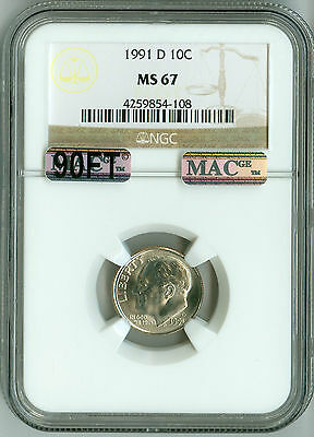 Click now to see the BUY IT NOW Price! 1991 D NGC MS67 MAC PQ 90FT ROOSEVELT DIME TOP REGISTRY NONE FINER WHITE