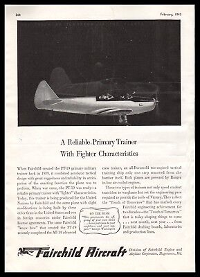 1943 FAIRCHILD PT-19 Aircraft Trainer Aviation Vintage Flying AD for sale  Shipping to Canada