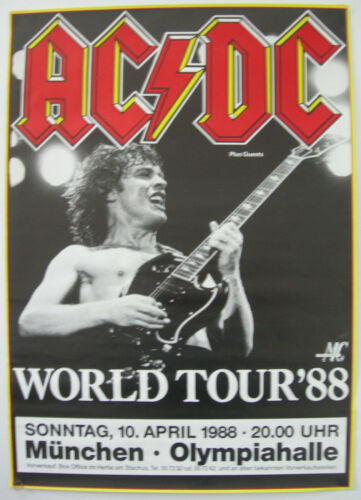 AC/DC CONCERT TOUR POSTER 1988 BLOW UP YOUR VIDEO ANGUS MALCOLM YOUNG