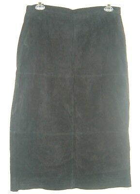 TERRY LEWIS Classic Luxuries Genuine Black Suede Leather Skirt 20 Modesty Long