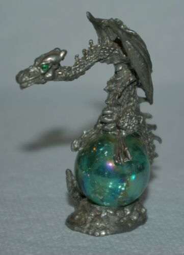 Vintage Pewter Dragon Crystal Ball Figure Signed & Dated