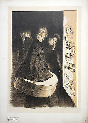 Lithografie, Maitres de l´Affiche, Steinlen, Frauen vor Schaufenster,1870