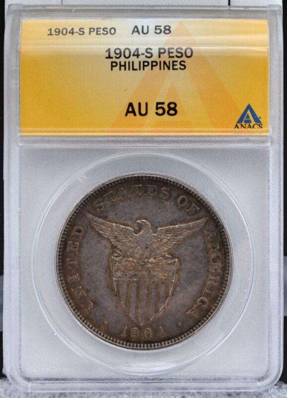 1904-S U.S. Philippines Silver Peso ANACS AU 58