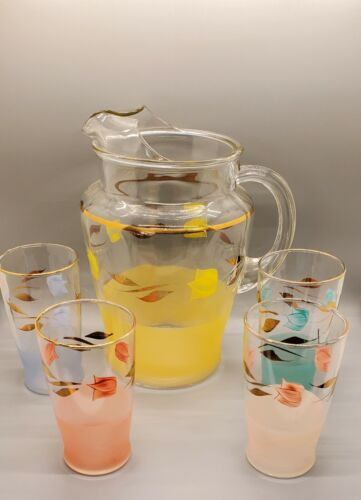 Vintage Retro Glass Tea Juice Pitcher and 4 Glasses Pastel Colors with Gold