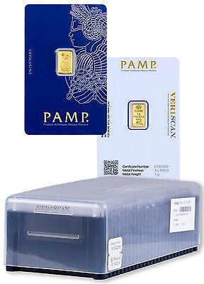 Box of 25 - PAMP Suisse 1 Gram .9999 Gold Bars - Fortuna w/ Assay Cert. SKU27318