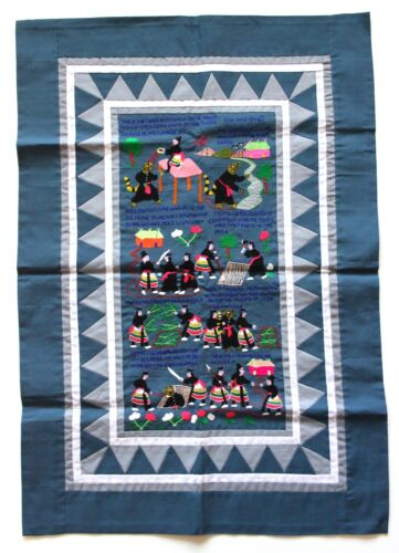 """Hmong Hand Made Embroidered Folk Story Cloth, Tiger Folktale (21""""x31"""")"""
