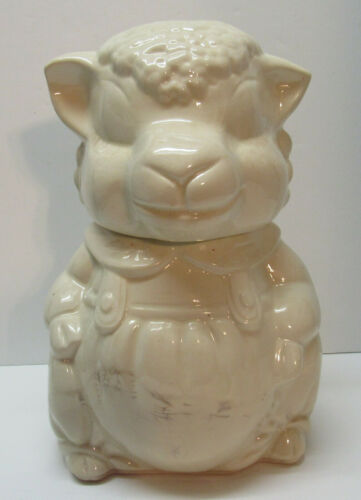 Sheep Cookie Jar Overalls Pottery AB Co American Pottery Vintage