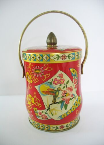 Regal Crown Tin Candy Canister w/ Lid England Hummingbird Floral Red Gold Handle