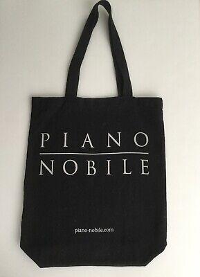 Fair-trade-shopper (BNWOT 'PIANO NOBILE' BLACK TOTE BAG DOUBLE SIDED PRINT COTTON FAIR TRADE SHOPPER)